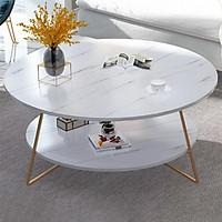 Bàn trà 2 tầng hình tròn, bàn sofa BAT015