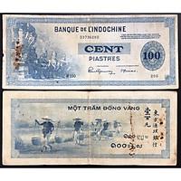 TIỀN XƯA Đông Dương 100 Đồng Vàng Hình Gánh Muối 1945 [TIỀN XƯA SƯU TẦM]
