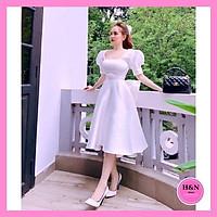 Váy Thiết Kế Xòe a, Váy xòe a trắng cổ vuông tay bồng, nơ lưng - H&N Store