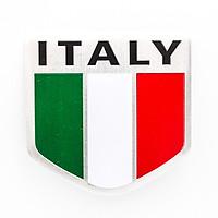 Sticker hình dán metal cờ Ý Italia - miếng lẻ - Khiên 5x5cm