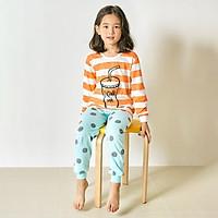 Bộ đồ dài tay mặc nhà cotton mịn cho bé gái U1007 - Unifriend Hàn Quốc, Cotton Organic