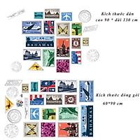 Decal dán tường tem thư thế giới JM7276