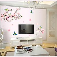 Decal dán tường Đào hồng và chim