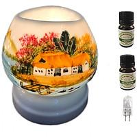 Đèn xông tinh dầu tam giác TG13 và 2 chai tinh dầu sả chanh Eco oil 10ml và 1 bóng đèn