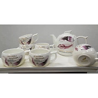 Bộ ấm chén kèm khay sứ pha trà trắng họa tiết lông vũ tím - ANTH22