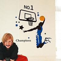 Decal dán tường bóng rổ Champions