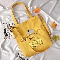 Túi Vải Tote Có Dây Đeo Chéo Vịt Vàng Duck Cute