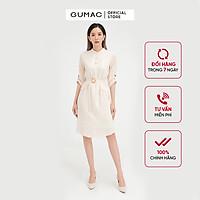 Đầm dáng suông nữ thiết kế cổ trụ phối dây thắt eo GUMAC DB5120