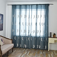 2m*2.5m Elegant White/blue Feather Design Sheer Tulle Curtains for Living Room The Bedroom Sheer Curtain Cotton Linen Kithcen Cortina Home Decor