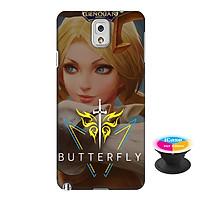 Ốp lưng nhựa dẻo dành cho Samsung Galaxy Note 3 in hình Butterfly - Tặng Popsocket in logo iCase - Hàng Chính Hãng