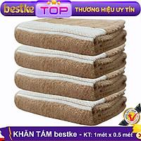 Khăn tăm bestke, 100% Cotton Combo 4 cái màu Nâu Cafe kích thước 1 mét x 0.5 mét