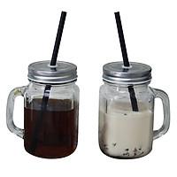 Bộ 2 Ly Thủy Tinh Có Quai Đựng Trà Sữa Camdaco (450ml) - Nắp Thiếc Giao Màu Ngẫu Nhiên