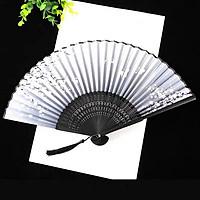 Quạt xếp cổ trang cầm tay điệp viễn xám phong cách Trung Quốc