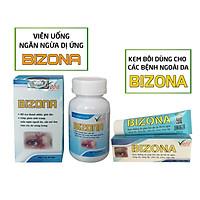 Bộ đôi kết hợp uống và bôi ngoài da: Bizona và kem Bizona - Giải độc dị ứng, giảm mẩn ngứa ngoài da, sẩn mề đay, rôm sảy. Giảm đau bụng, tiêu chảy, buồn nôn do dị ứng thức ăn. Sản phẩm của Vioba, hộp 60 viên & tuýp 30g
