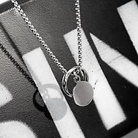 Vòng cổ Vương Nhất Bác xỏ nhẫn miếng tròn dây chuyền nam phong cách Hàn Quốc tặng ảnh Vcone
