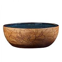 Chậu lavabo rửa mặt chất liệu sứ họa tiết giả gỗ điêu khắc phong cách cổ điển - Chậu sứ mỹ thuật mẫu mới giá tốt