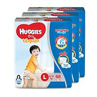Combo 3 Tã quần HUGGIES DRY PANTS SUPER JUMBO L68 (8 - 13kg)  - Gói 68 miếng