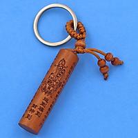 Móc khóa gỗ đàn hương hình trụ tròn - móc khóa gỗ khắc Phật Chú phong cách cổ trang