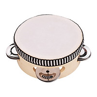 Wooden Hand Tambourine with Metal Single Row Jingles Polyester Drum Skin Tambourines Entertainment Musical