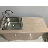 Tủ bếp nhựa đài loan vân gỗ nhạt có bồn 105x80 cm