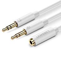 Cáp âm thanh 3.5Mm âm ra 2 đâu 3.5Mm dương mic và tai nghe  đàu mạ vàng ver 20897 20Cm màu trắng UGREEN Av140- Hàng chính hãng