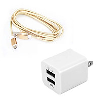 Combo dây sạc 1m Micro USB và củ sạc 2 cổng 1-A, 2-A tiện dụng
