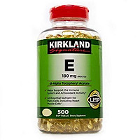 Kirkland Signature Vitamin E 400 I.U. 500 Softgels, Bottle, Yellow