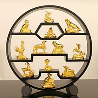 Bộ tượng 12 con giáp mạ vàng