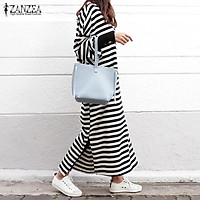 ZANZEA Women Striped Dress Long Batwing Sleeve O-Neck Casual Loose Split Maxi Long Dress Vestidos (Stripe)