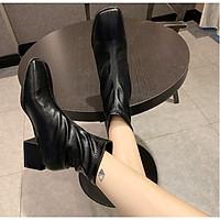 Giày Boots Nữ Cổ Ngắn Đế Vuông 5cm Da PU Mã H88