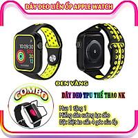 Dây Đeo liền ốp dành cho Apple Watch size 38/40/42/44mm TPU thể thao viền màu - Đen Vàng (tặng dán KCL theo size)