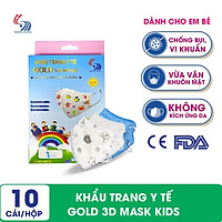 Khẩu trang y tế Gold 3D Mask Kids dành cho trẻ em - Hộp 10 cái