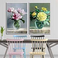 Bộ 2 tranh canvas treo tường Decor Bình hoa đẹp, phong cách hiện đại, trang nhã - DC051