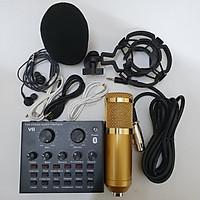combo Bộ Míc Thu Âm Livestream Hát Karaoke Online Micro BM-900+ CARD V8 Bluetooth Tặng Tai nhét tai