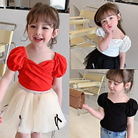 Girls T-shirt Solid Color Puff Sleeve Short-sleeved Little V-neck T-shirt For 2-6 Years Old