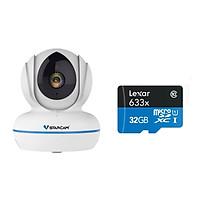Combo Camera ip wifi không dây C22Q 2K 4MB H.265 Vstarcam , Kèm thẻ nhớ 32GB A1 Lexar - Hàng chính hãng
