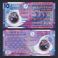 Tiền polymer Hong Kong mệnh giá 10 dollars đẹp nhất thế giới, mới cứng, tặng kèm bao nilong bảo quản