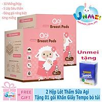 Combo 2 Hộp Miếng Lót Thấm Sữa Agi - tặng 1 gói khăn giấy Tempo