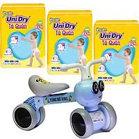 Combo 3 gói tã quần Unidry XL48 tặng xe chòi chân con ong phát đèn nhạc VBCare 052