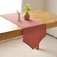 Khăn trải bàn table runner vải bố - Họa tiết Caro đỏ - mẫu A03