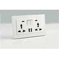 Ổ Cắm Điện Âm Tường Chống Giật Có công tắc và USB TK-BS2P2U2S