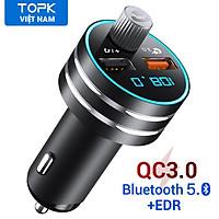 Tẩu sạc nhanh TOPK G201Q hai cổng USB, kết nối bluetooth 5.0 đài FM MP3 thẻ TF dành cho điện thoại di động - Hàng nhập khẩu