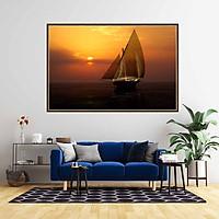 Tranh canvas phong thủy treo tường - Thuận buồm xuôi gió - TBXG010 - Khung hoa văn viền mỏng - 120x80cm