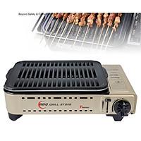Bếp Nướng Ga Không Khói, Chống Dính MS-8 Mini BBQ / Thoát Dầu Mỡ Tự Động (Tặng hộp đựng, có tay xách)