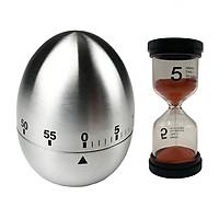 Combo Đồng hồ hẹn giờ hình quả Trứng và Đồng hồ cát 5 phút