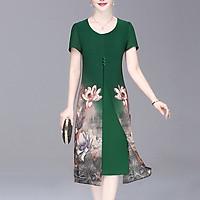 Đầm Suông Size Lớn Kiểu Đầm Cho Mẹ Trung Niên Xẻ Tà In Hoa Cam - THỜI TRANG TRUNG NIÊN ROMI 3288 - XANH - SEN 2 BÊN -3296 - M 48-53KG