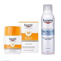 Combo Eucerin Kem Chống Nắng Sun Mattifying Fluid 50+ 50ml Và Xịt Khoáng Dưỡng Ẩm Eucerin 150ml