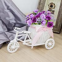 Giỏ hoa xe đạp trang trí kèm hoa vải lụa nhiều màu sắc