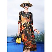 Đầm suông trung niên dạo phố kiểu đầm suông in hoa cách điệu ROMI1699