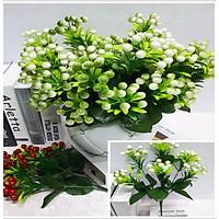 Hoa giả Chùm quả hồ trăn màu trắng xanh trang trí